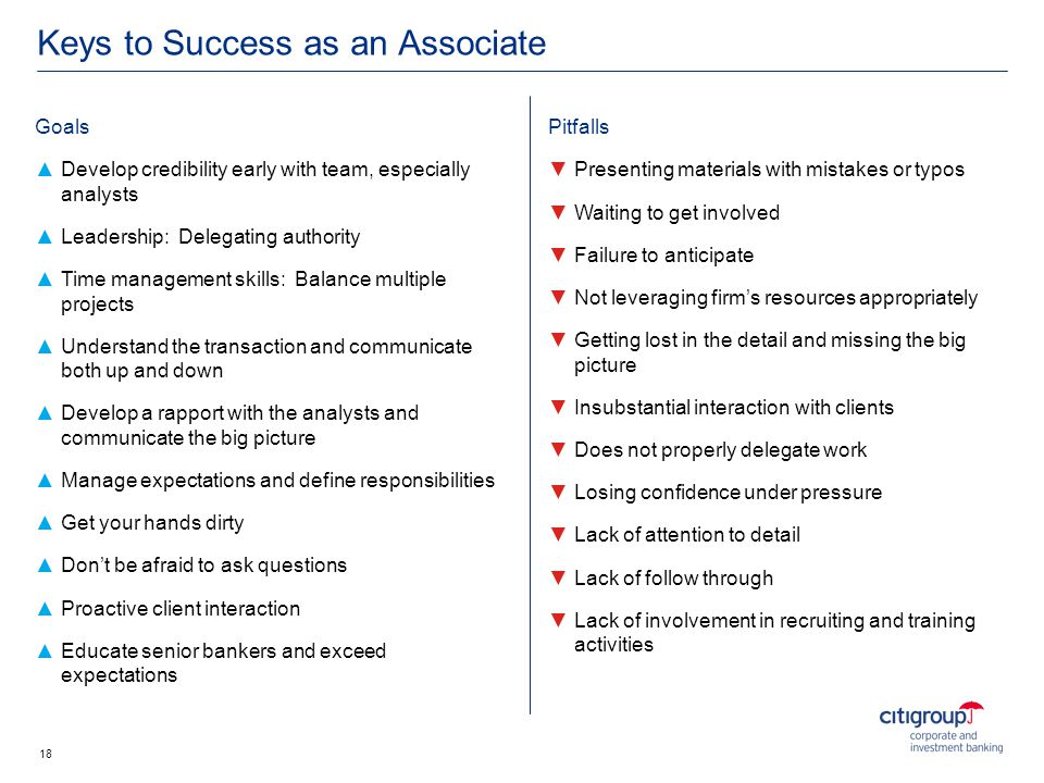 Keys to Success as an Associate