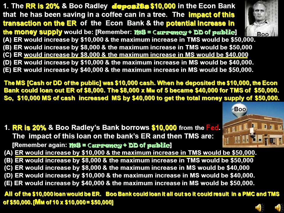 1. The RR is 20% & Boo Radley deposits $10,000 in the Econ Bank