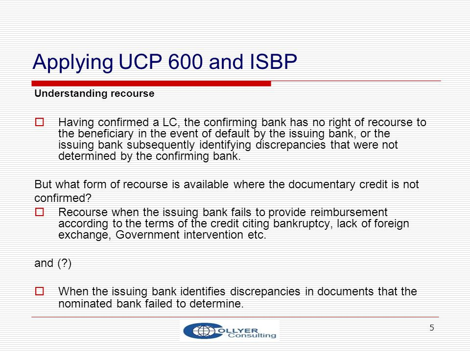 Applying UCP 600 and ISBP Understanding recourse.