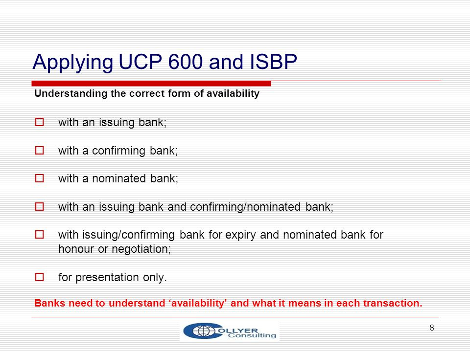 Applying UCP 600 and ISBP with an issuing bank;