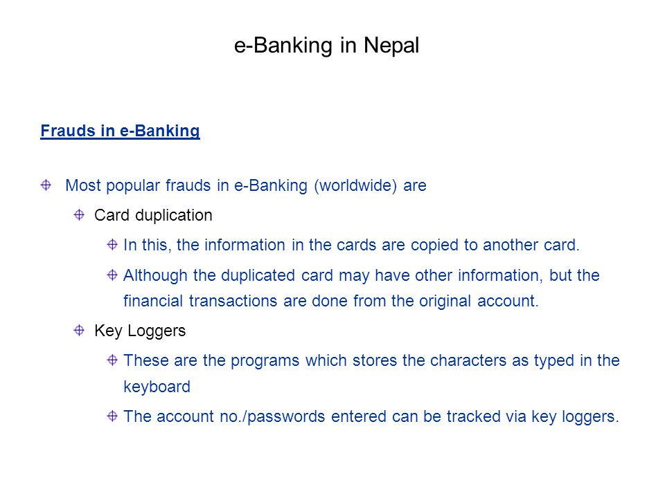 e-Banking in Nepal Frauds in e-Banking