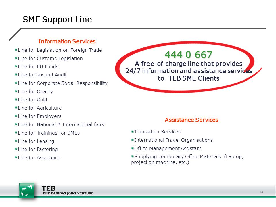 444 0 667 SME Support Line A free-of-charge line that provides