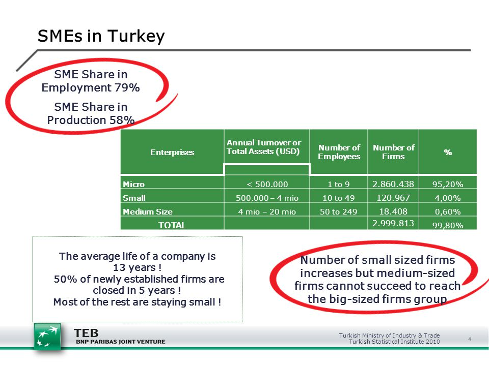 SMEs in Turkey SME Share in Employment 79% SME Share in Production 58%