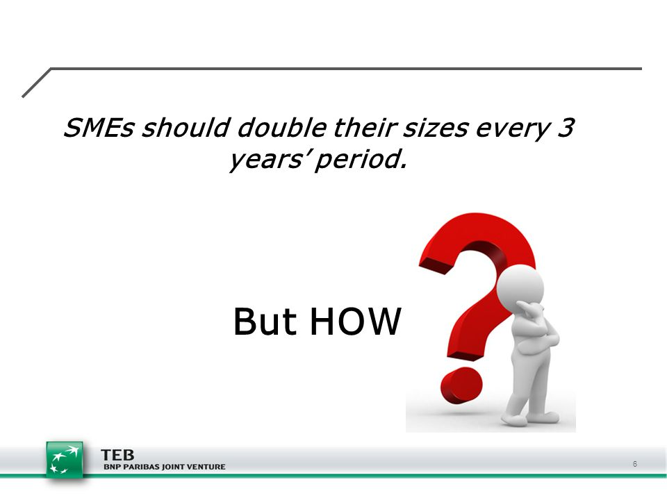 SMEs should double their sizes every 3 years' period.