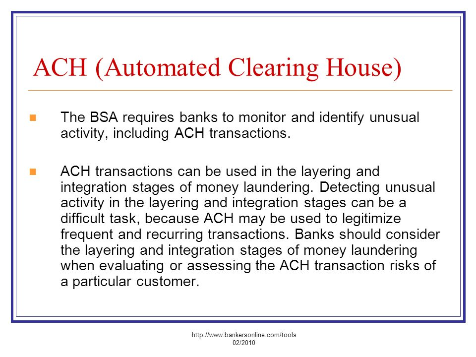 ACH (Automated Clearing House)