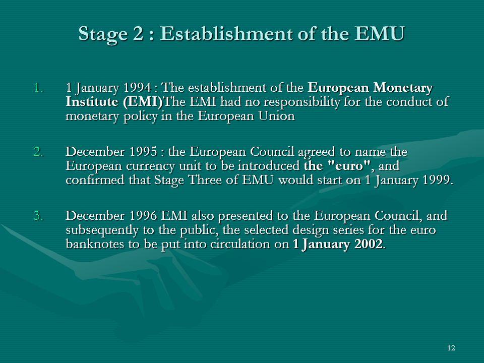 Stage 2 : Establishment of the EMU