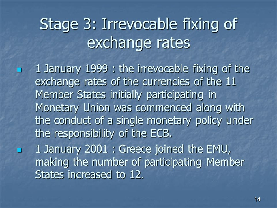 Stage 3: Irrevocable fixing of exchange rates