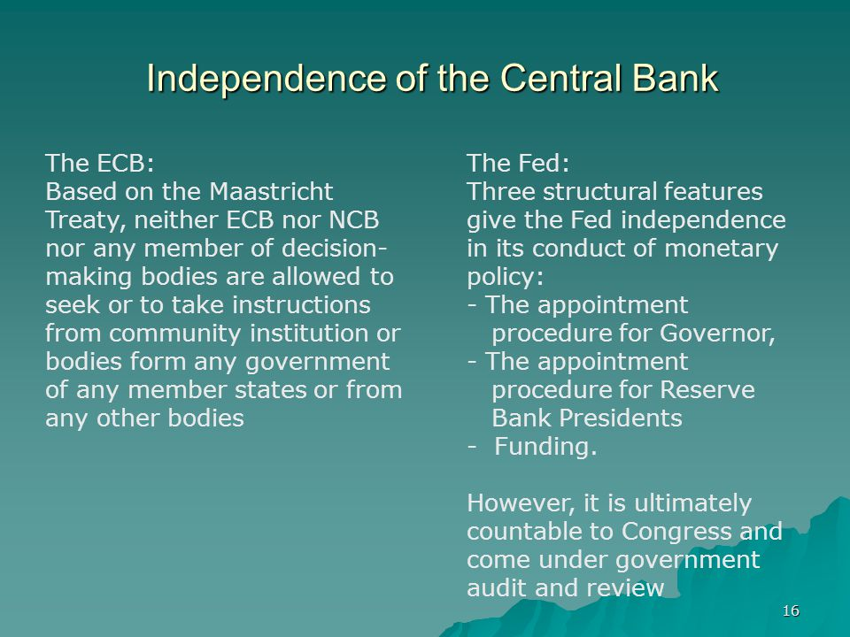 Independence of the Central Bank