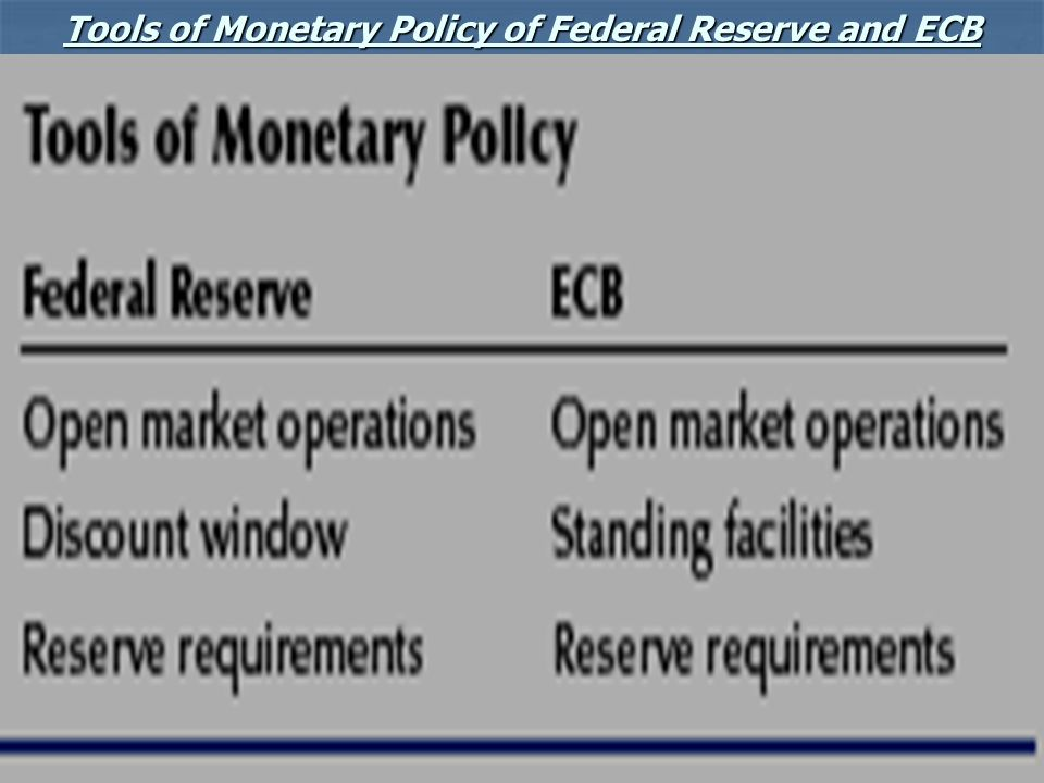 Tools of Monetary Policy of Federal Reserve and ECB