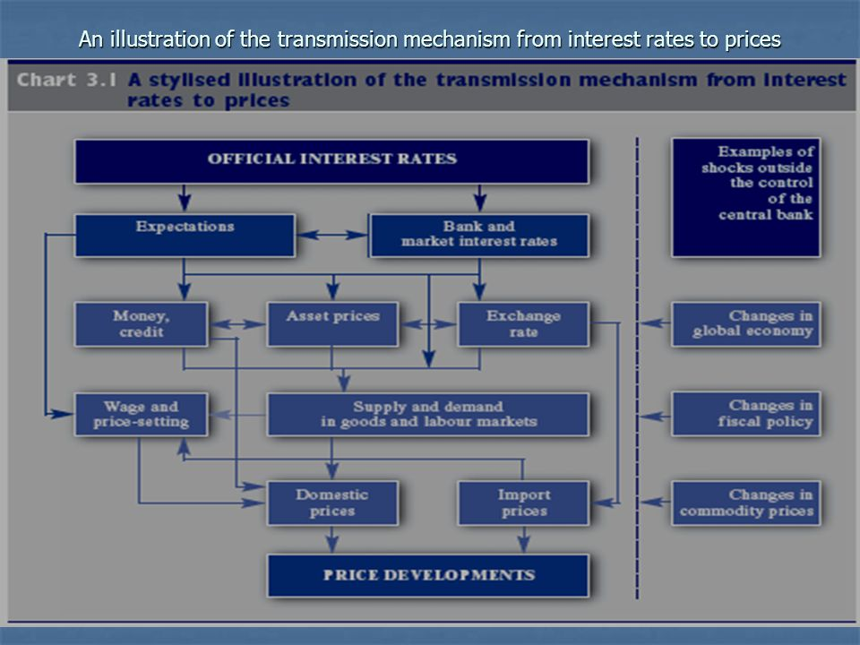 An illustration of the transmission mechanism from interest rates to prices