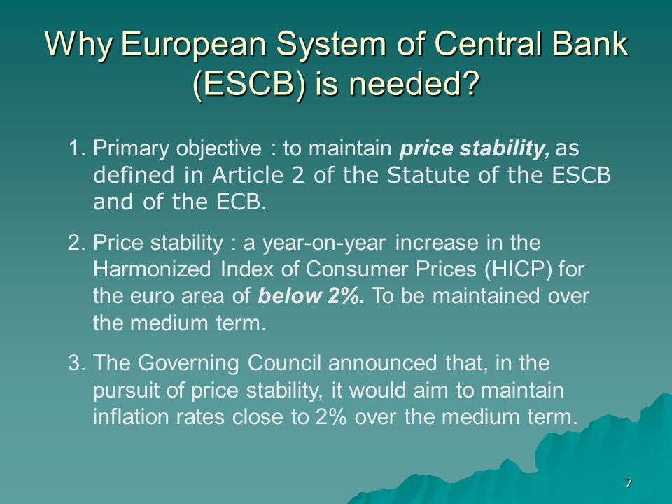 Why European System of Central Bank (ESCB) is needed