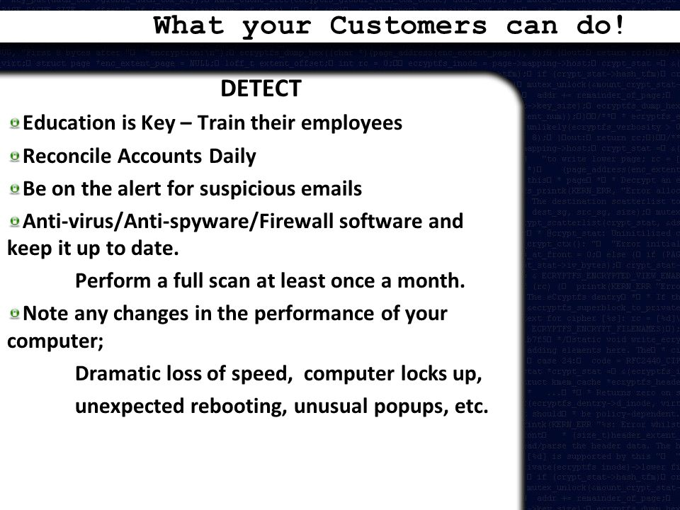 What your Customers can do!