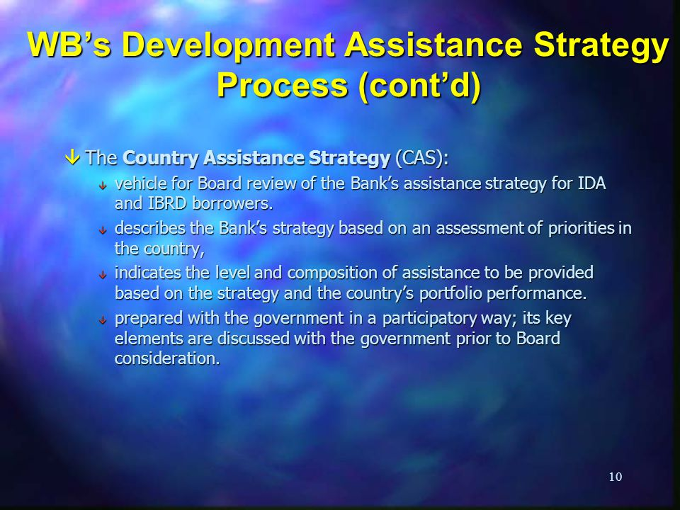 WB's Development Assistance Strategy Process (cont'd)