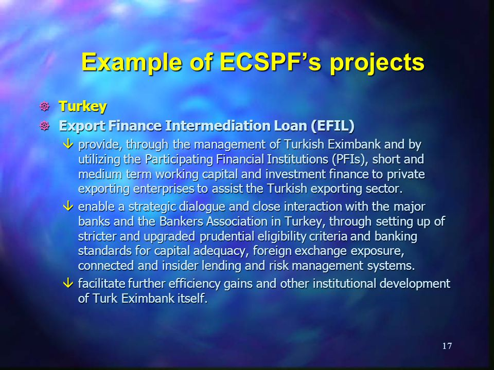 Example of ECSPF's projects