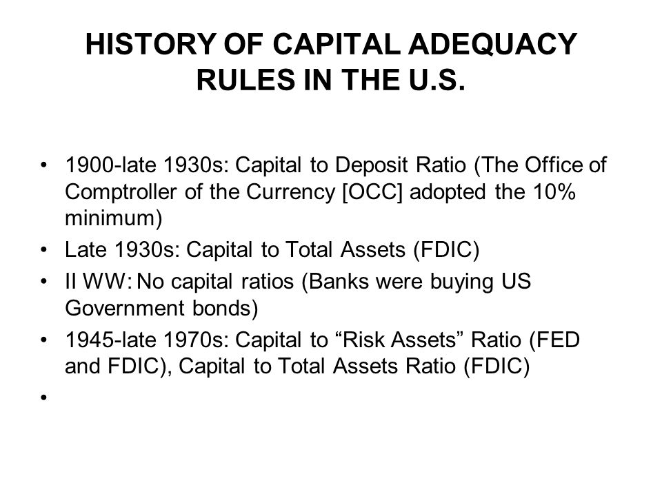 HISTORY OF CAPITAL ADEQUACY RULES IN THE U.S.