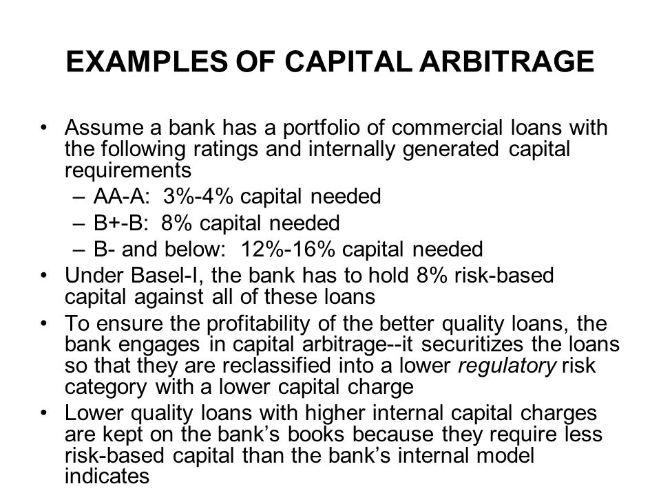 EXAMPLES OF CAPITAL ARBITRAGE