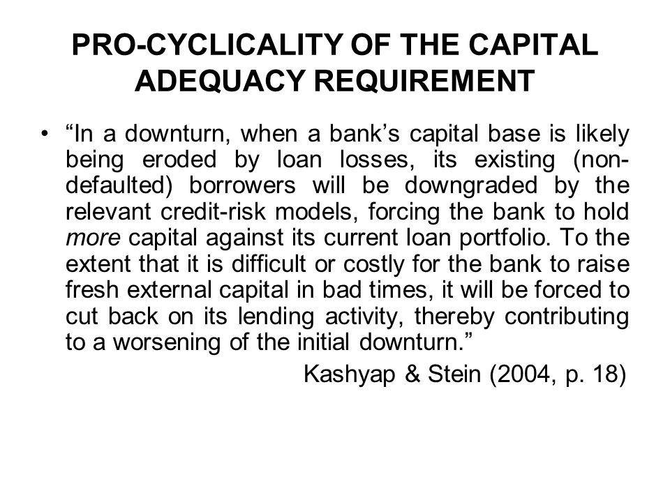 PRO-CYCLICALITY OF THE CAPITAL ADEQUACY REQUIREMENT
