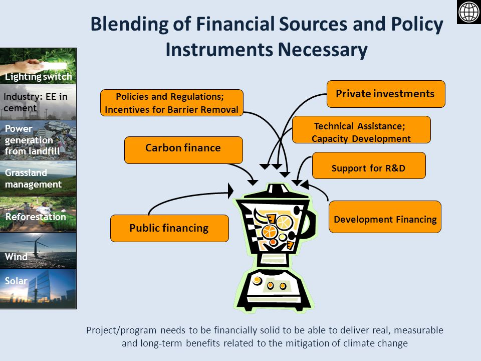 Blending of Financial Sources and Policy Instruments Necessary