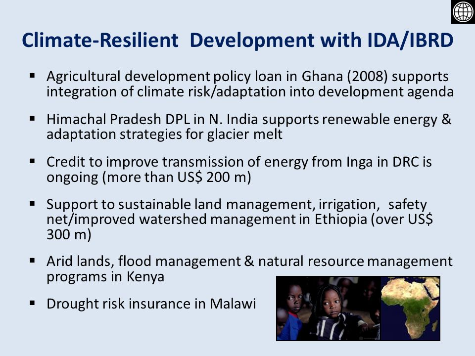 Financing Climate Resilient Development A World Bank