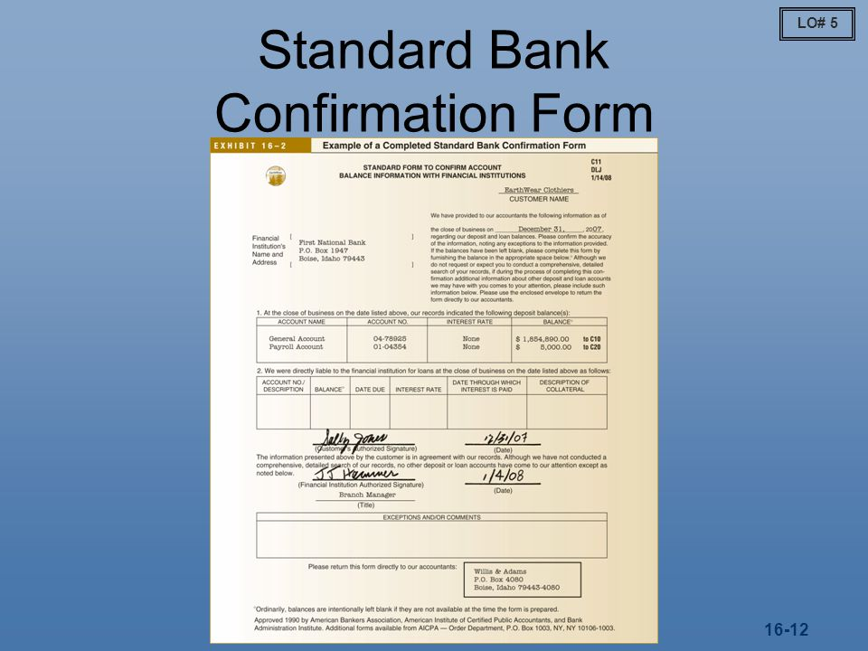 Standard Bank Confirmation Form