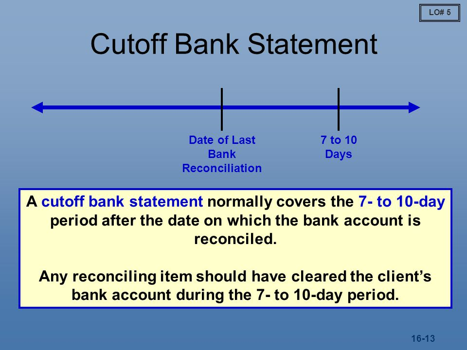 Date of Last Bank Reconciliation