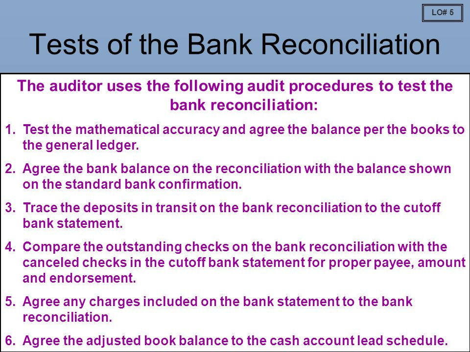 Tests of the Bank Reconciliation