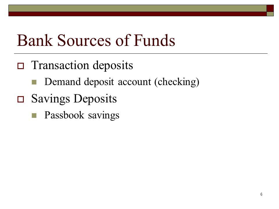 Bank Sources of Funds Transaction deposits Savings Deposits