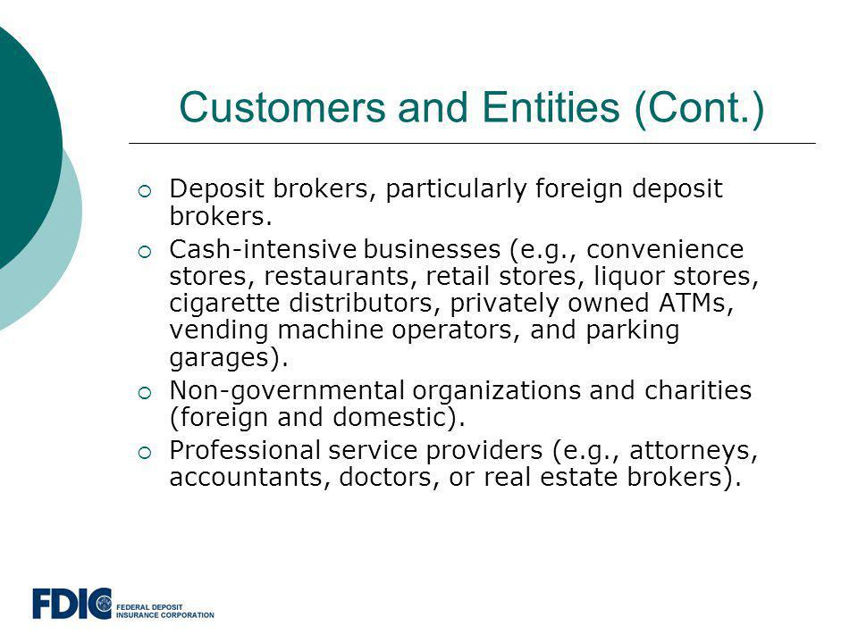 Customers and Entities (Cont.)