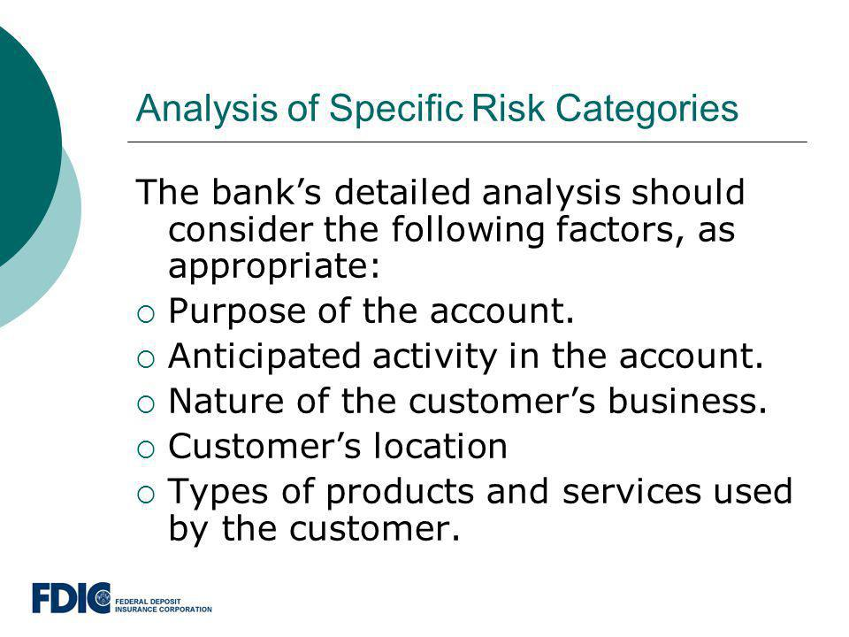 Analysis of Specific Risk Categories