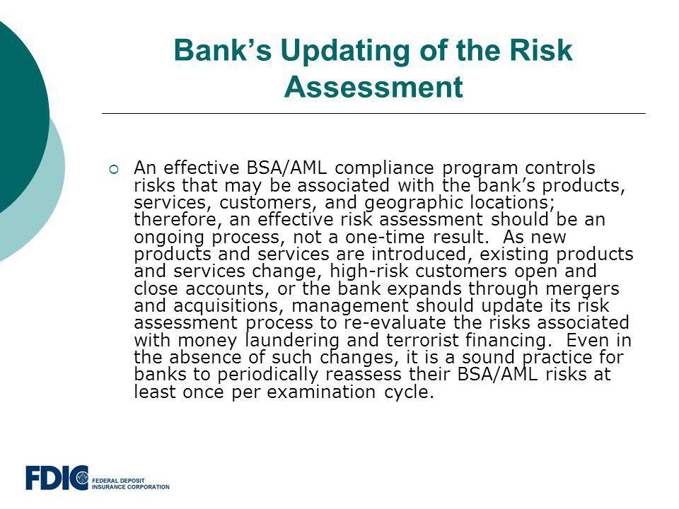 Bank's Updating of the Risk Assessment