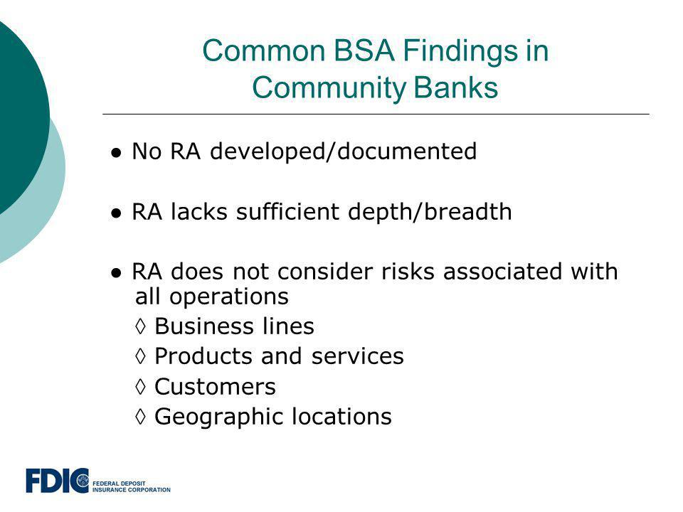 Common BSA Findings in Community Banks