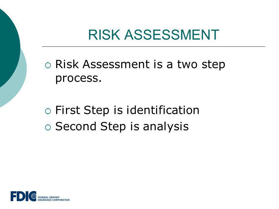 RISK ASSESSMENT Risk Assessment is a two step process.