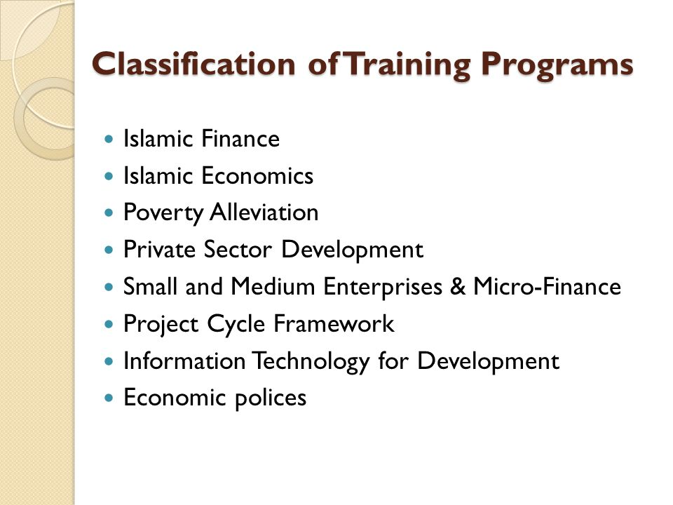 Classification of Training Programs