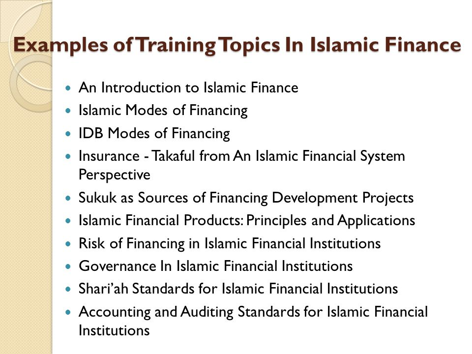 Examples of Training Topics In Islamic Finance