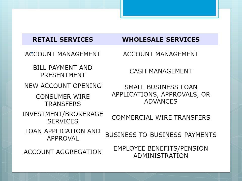 . RETAIL SERVICES WHOLESALE SERVICES ACCOUNT MANAGEMENT