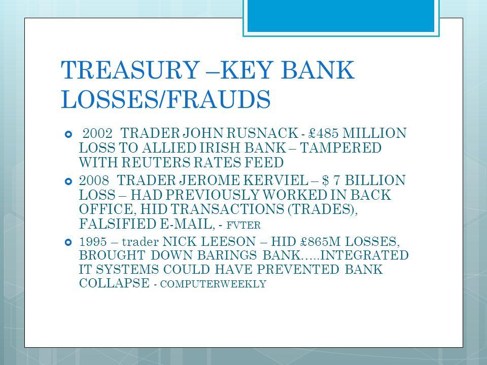 TREASURY –KEY BANK LOSSES/FRAUDS