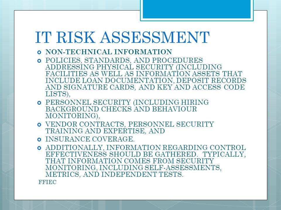 IT RISK ASSESSMENT NON-TECHNICAL INFORMATION