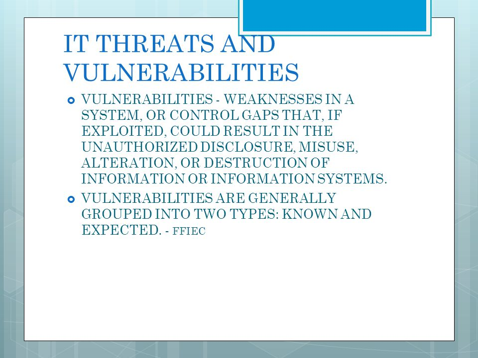 IT THREATS AND VULNERABILITIES