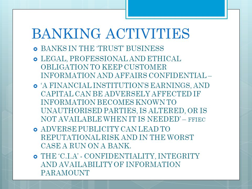 BANKING ACTIVITIES BANKS IN THE 'TRUST' BUSINESS