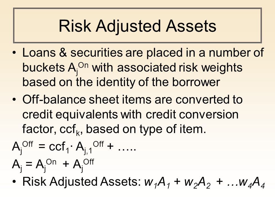 Risk Adjusted Assets Loans & securities are placed in a number of buckets AjOn with associated risk weights based on the identity of the borrower.