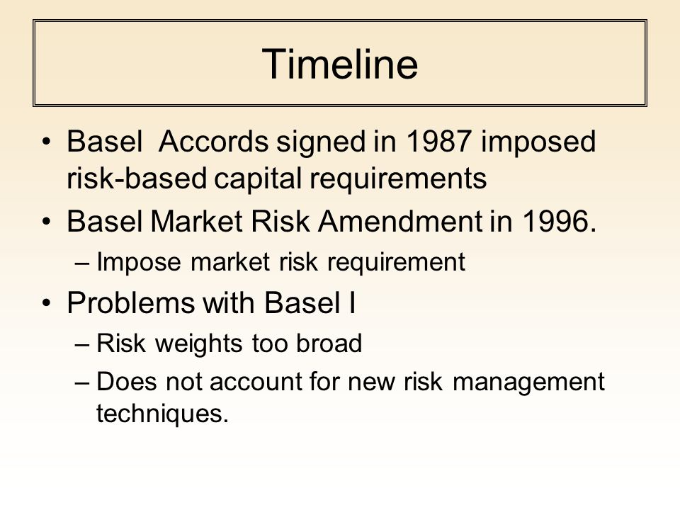 Timeline Basel Accords signed in 1987 imposed risk-based capital requirements. Basel Market Risk Amendment in 1996.
