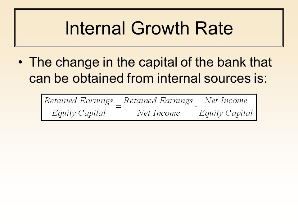 Internal Growth Rate The change in the capital of the bank that can be obtained from internal sources is: