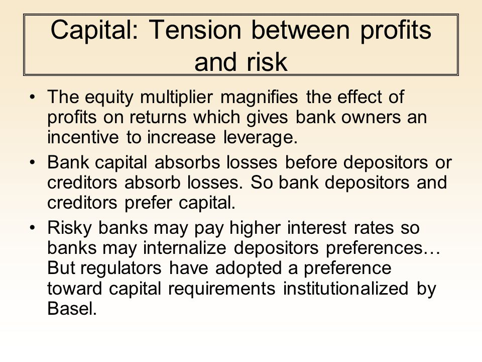 Capital: Tension between profits and risk