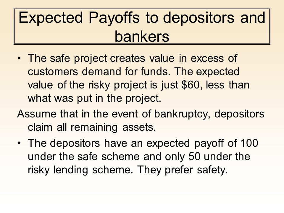 Expected Payoffs to depositors and bankers