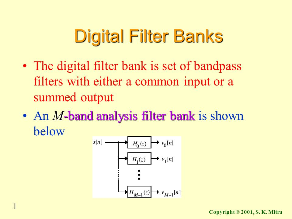 Digital Filter Banks The digital filter bank is set of bandpass filters with either a common input or a summed output.