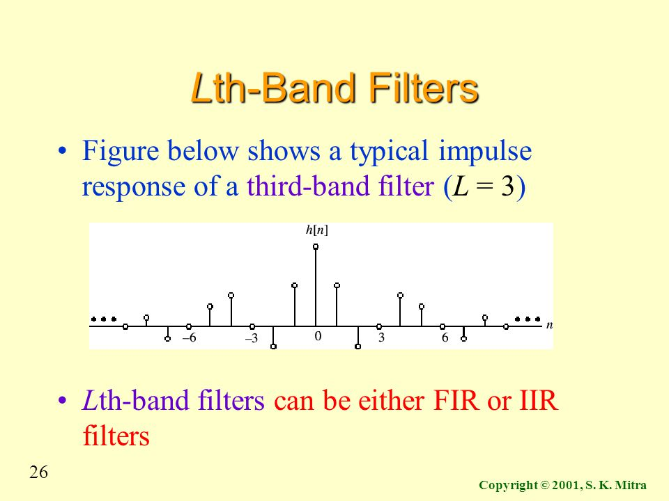 Lth-Band Filters Figure below shows a typical impulse response of a third-band filter (L = 3) Lth-band filters can be either FIR or IIR filters.