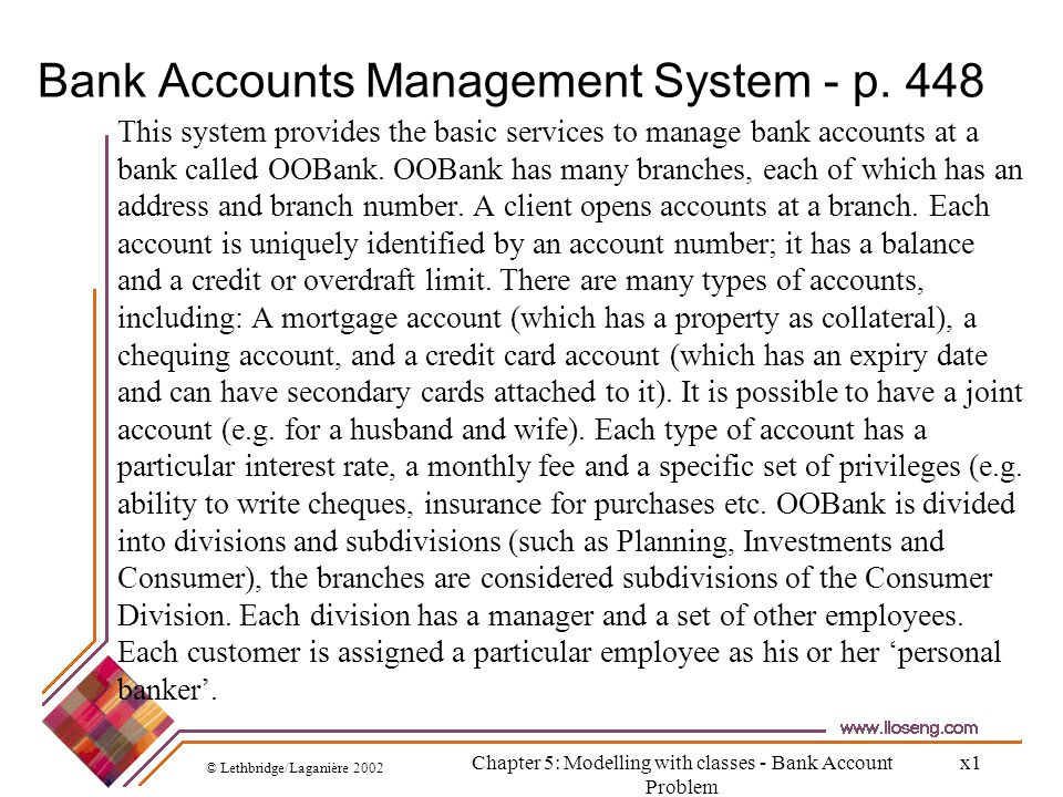 Bank Accounts Management System - p. 448