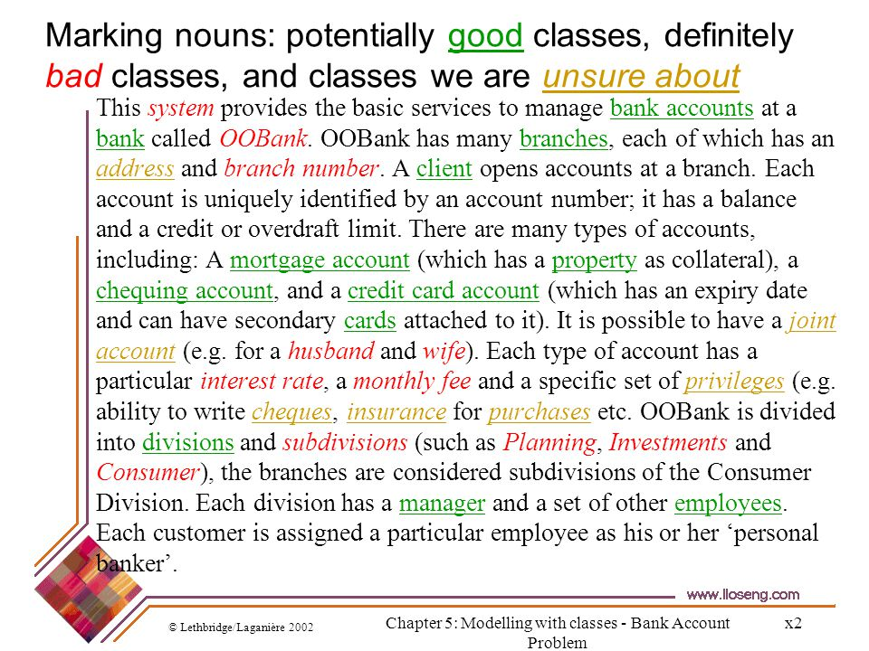 Chapter 5: Modelling with classes - Bank Account Problem