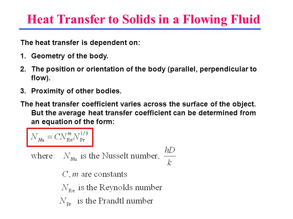 Heat Transfer to Solids in a Flowing Fluid