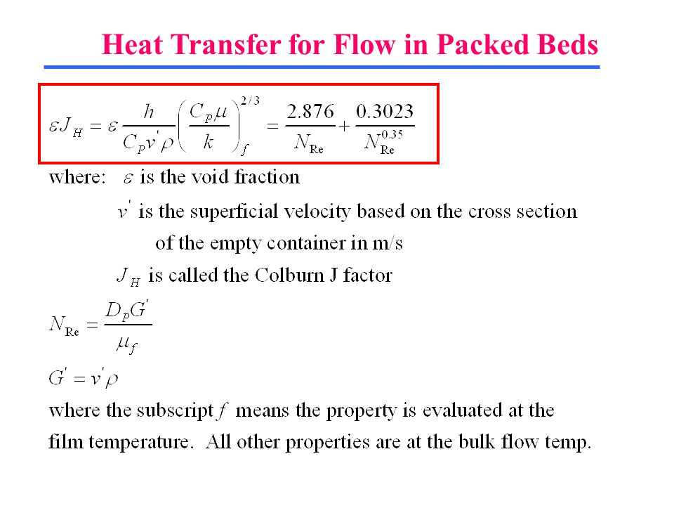Heat Transfer for Flow in Packed Beds